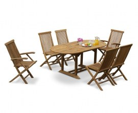 Oxburgh Bijou 6 Seater Single Leaf Extending Table 1.2-1.8m with Newhaven Armchairs and Side Chairs