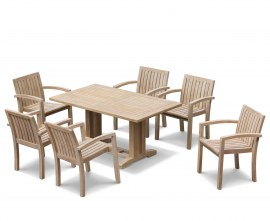 Rectory 6 Seater Teak 1.5m Rectangular Table and Antibes Chairs Set