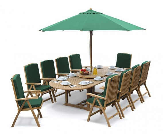 Oxburgh 10 Seater Teak 2-3m Extending Table with Tewkesbury Recliners