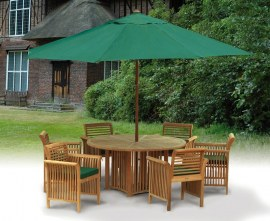Teak Patio Dining Set with Aero Round Table 1.5m & 6 Chairs