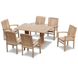 Rectory 6 Seater Teak 1.5m Rectangular Table and Cannes Chairs Set