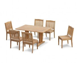 Rectory 6 Seater Teak 1.5m Rectangular Table and Winchester Chairs Set