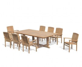 Winchester 8 Seater Teak 2.6m Rectangular Table with Cannes Armchairs
