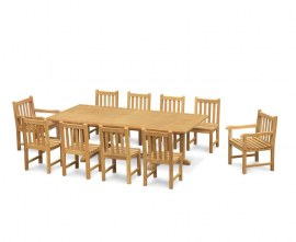 Winchester 8 Seater Teak 2.6m Rectangular Table with Windsor Armchairs and Side Chairs