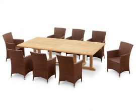 Winchester 8 Seater Teak 2.6m Rectangular Table with Verona Chairs