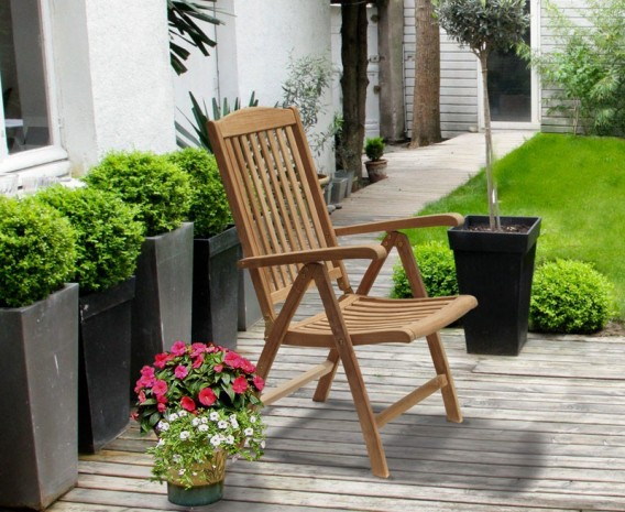 Tewkesbury Teak Outdoor Recliner Chair