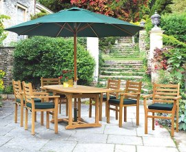 Oxburgh 6 Seater Single Leaf Extending Table with Sussex Chairs