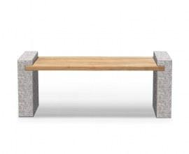 Granite and Teak Outdoor Bench