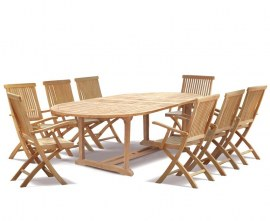 Oxburgh 8 Seater Teak Extending Table with Folding Armchairs