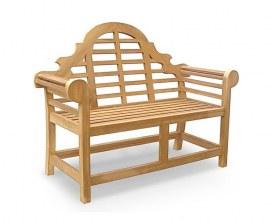 Lutyens-Style Teak Garden Bench - High Back - 1.35m