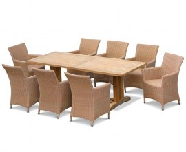 Rectory 8 Seater Teak 2.25 x 0.9m Table and Verona Loom Weave Chairs