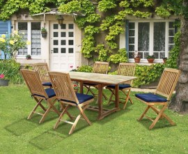 Winchester 6 Seater Teak 1.8m Rectangular Table with Cannes Dining Chairs