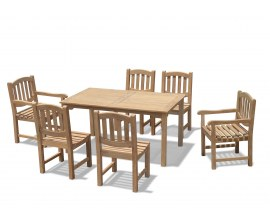 Hampton 6 Seater Rectangular 1.5m Dining Set with Kennington Chairs
