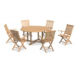 Sissinghurst 6 Seater Round 1.5m Dining Set with Oxburgh Armchairs