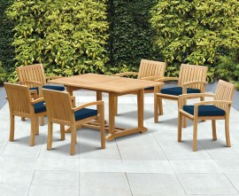 Winchester 6 Seater Teak 1.5m Rectangular Table with Antibes Armchairs