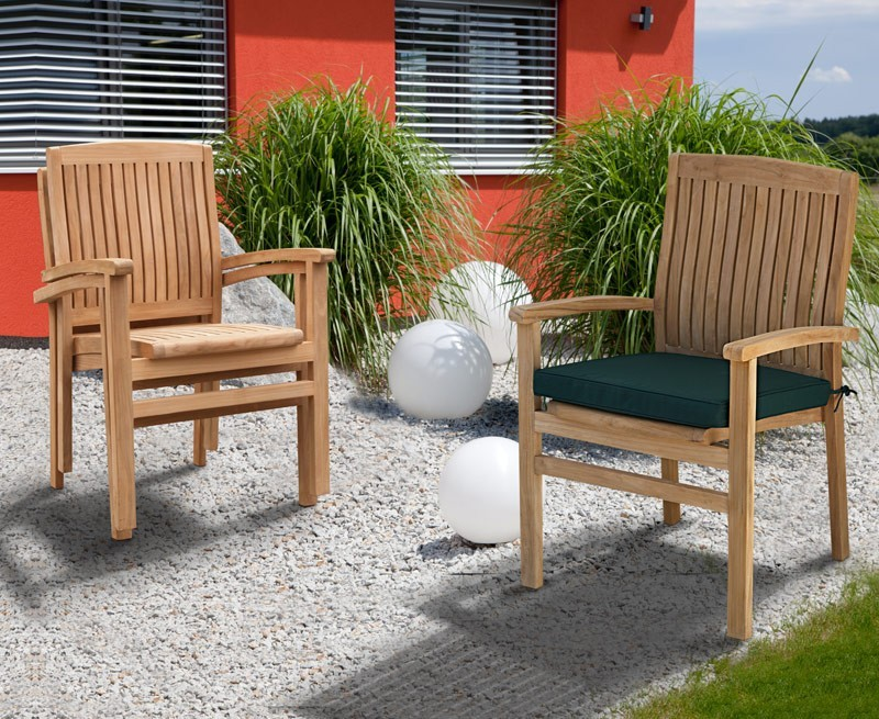 Cannes Teak Stacking Garden Armchair
