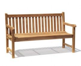 York Teak 3 Seater Garden Bench - 1.5m