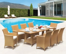 Verona 8 Seater Rattan Dining Set with 2.2m Rectangular Table