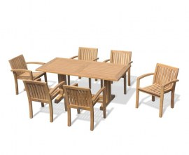 Rectory 6 Seater Teak 1.8 Rectangular Table and Antibes Chairs Set