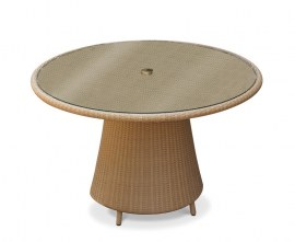 Azure Rattan Glass-Topped Round Table - 1.2m