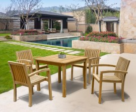 Hampton 4 Seater Teak Square Dining Set with Antibes Stacking Chairs