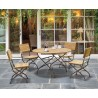 Café 4 Seater Round 1.3m Table and Side Chairs Set - Raven Black