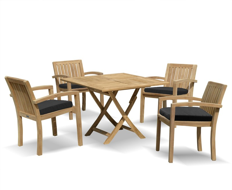 Lymington 4 Seater Square 1m Dining Set with Antibes Armchairs