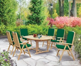 Oxburgh 6 Seater Teak 1.2-1.8m Extending Table with Tewkesbury Recliner Armchairs
