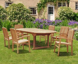 Oxburgh Double Leaf Extending Table with 6 Cannes Stacking Chairs