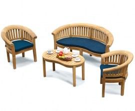 Deluxe Teak Banana Bench, Coffee Table & Armchairs, Furniture Set