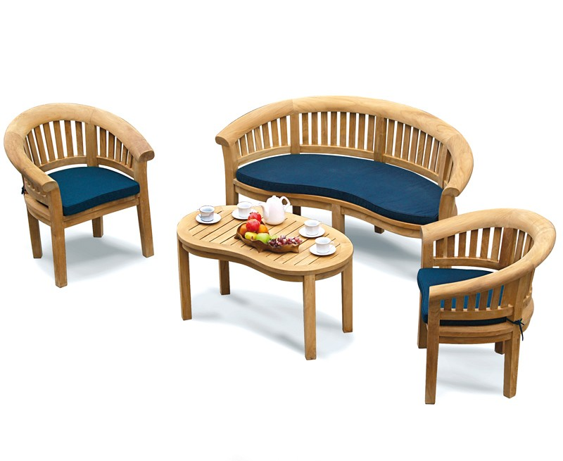 Apollo Banana Deluxe Teak Coffee Table Set with Bench & Armchairs
