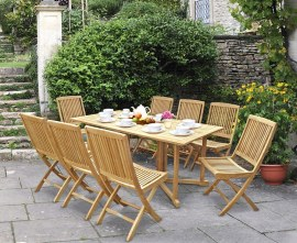 Byron 8 Seater Teak 1.8m Gateleg Dining Set with Palma Dining Chairs