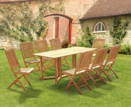 Byron 8 Seater Teak 1.8m Gateleg Dining Set with Cannes Dining Chairs