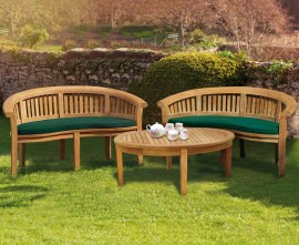 Apollo Banana Bench Teak Coffee Table Set