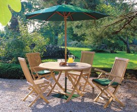 Lymington 4 Seater Round 1.2m Folding Dining Set with Newhaven Chairs