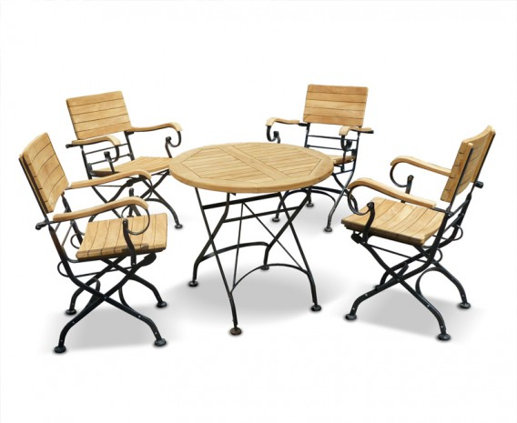 Café 4 Seater Round 80cm Table and Armchairs Set - Raven Black