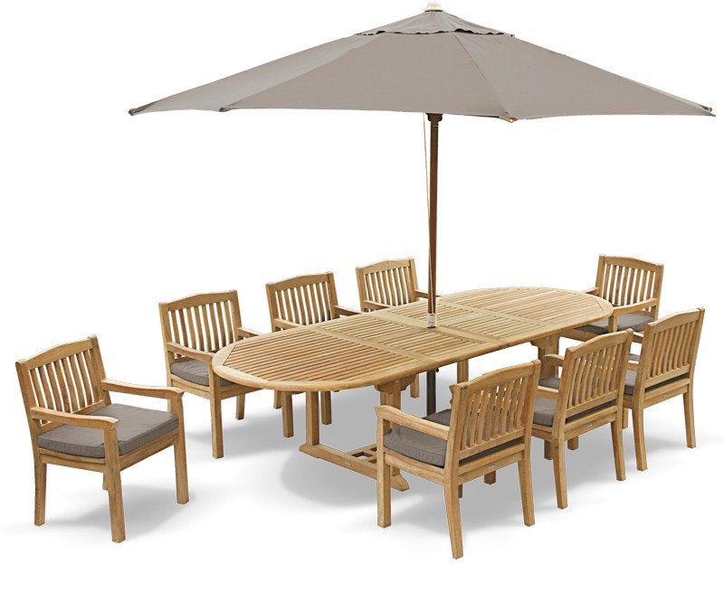 Oxburgh 8 Seater Teak 2-3m Extending Table with Winchester Armchairs Set