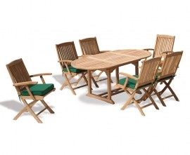 Oxburgh Bijou 6 Seater Single Leaf Extending Table 1.2-1.8m with Cannes Folding Armchairs