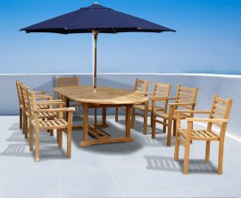 Oxburgh 8 Seater Teak 1.8-2.4m Extendable Table with Sussex Stacking Armchairs