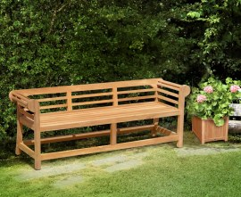 Teak Low Back Lutyens Outdoor Bench - 1.95m