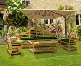 Lutyens 2.25m Bench, Chairs & Coffee Table, Garden Patio Furniture Set