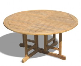 Berrington Round Teak Drop Leaf Patio Table – 1.5m