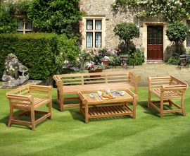 Low Back Lutyens-Style 1.95m Bench, Armchairs & Coffee Table Set