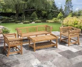 Lutyens Teak 1.65m Low Back Bench, Armchairs & Coffee Table Garden Set