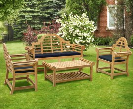 Lutyens-Style 1.65m Bench, Armchairs & Coffee Table Set