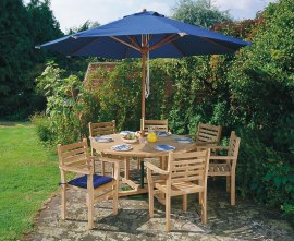 Canfield Round 1.5m Table & 6 Yale Stacking Chairs, Teak Dining Set