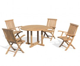 Sissinghurst 4 Seater Round 1.2m Dining Set with Oxburgh Chairs