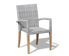 Rattan and Teak Stacking Chair