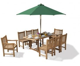 Hilgrove Rectangular 1.8m Table & 8 Windsor Chairs, Teak Dining Set