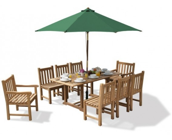 Winchester 8 Seater Teak 1.8m Rectangular Table with York Armchairs and Side Chairs